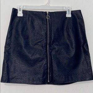 H&M navy leather skirt